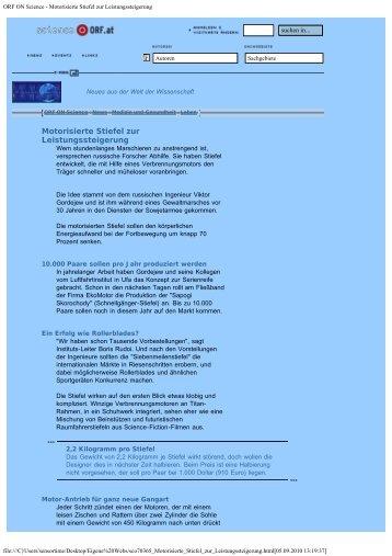 ORF ON Science - Motorisierte Stiefel zur Leistungssteigerung
