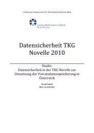 Datensicherheit TKG Novelle 2010 - Ludwig Boltzmann Institut für ...