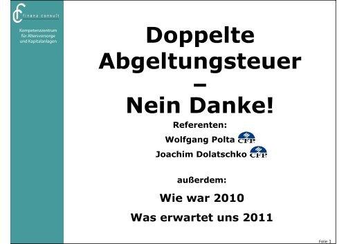 Doppelte Abgeltungsteuer – Nein Danke! - fc finanz consult