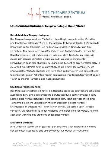 Studieninformationen Tierpsychologie Hund/Katze - Tier-Therapie ...