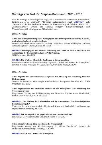 Vorträge - Johannes Gutenberg-Universität Mainz