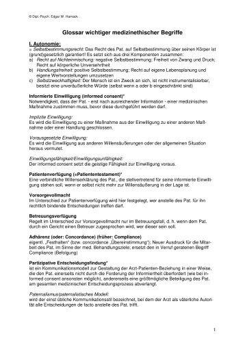 Medizinethische Begriffe - Transpersonale Psychotherapie