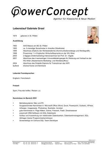 Lebenslauf Gabriele Grasl - pdf - powerConcept Werbeagentur ||| by ...