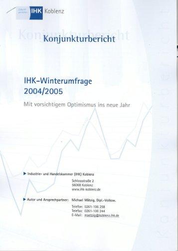 Der Konjunkturbericht Winter 2004 / 2005 der IHK Koblenz