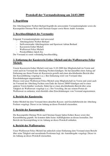 Protokoll der Vorstandssitzung am 24.03.2009