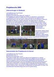 Projektwoche 2000 - Geschwister-Scholl-Gymnasium Bützow