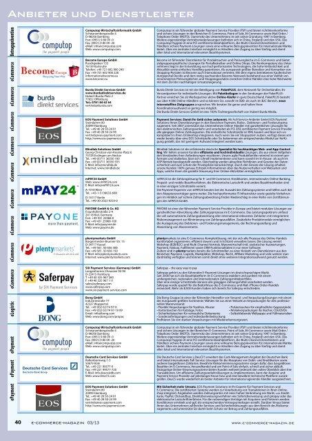 Anbieter und Dienstleister - E-Commerce Magazin