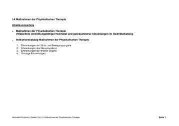 Katalog der Maßnahmen der physikalischen Therapie