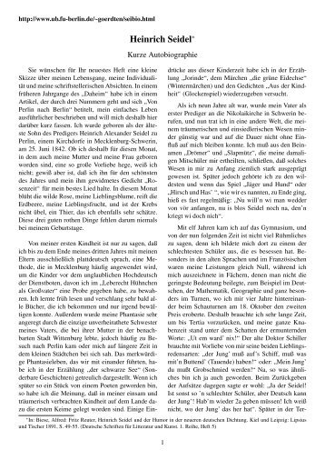 Heinrich Seidel - Eine kurze Autobiographie