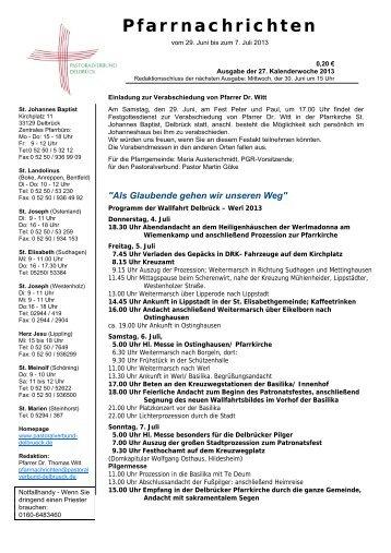 Sonntag, 30.06.2013 - Pastoralverbund Delbrück