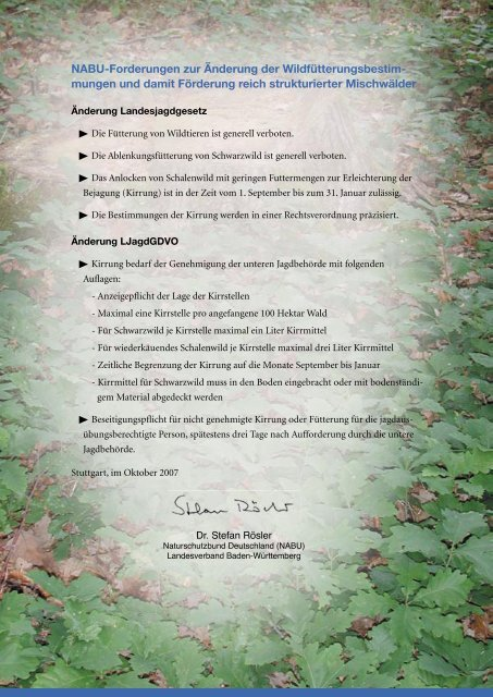 NABU-Forderungen zur Änderung der Wildfütterungsbestim ...