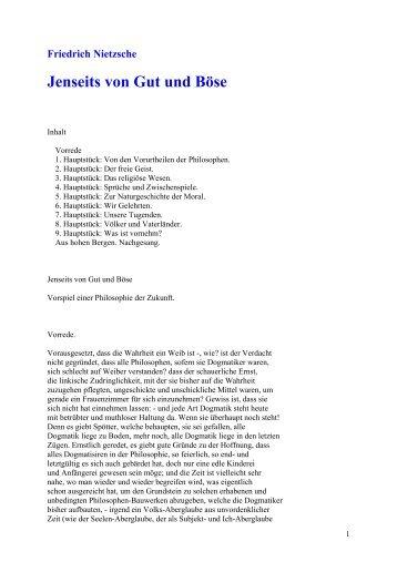 Friedrich Nietzsche Jenseits von Gut und Böse - Wissensnavigator