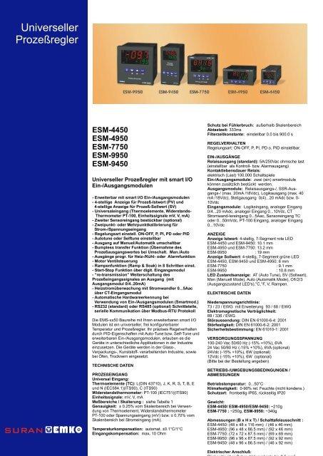 EMKO ESM-XX50 - PID-Regler - Datenblatt - TDE Instruments GmbH