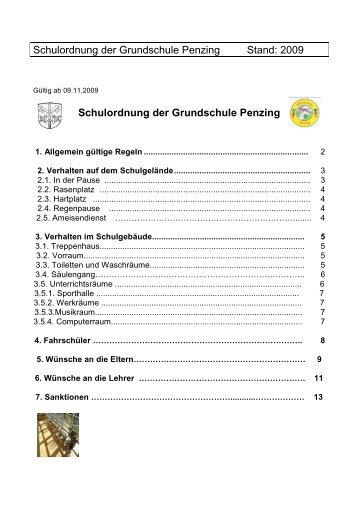 Schulordnung der Grundschule Penzing Stand: 2009 Schulordnung ...