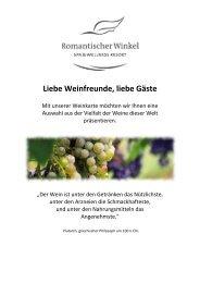 Unsere Weinkarte - Romantischer Winkel