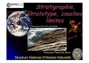 Stratigraphie, stratotype, couches limites