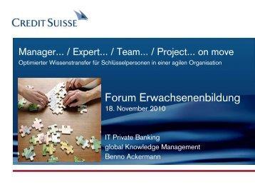 Optimierter Wissenstransfer - Schweizerisches Forum für ...