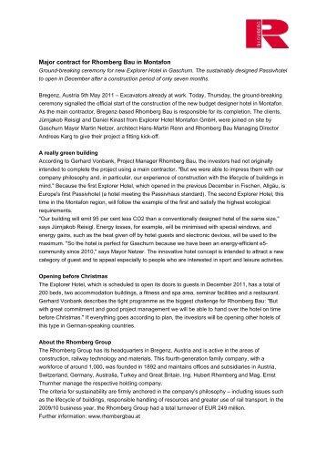 Major contract for Rhomberg Bau in Montafon