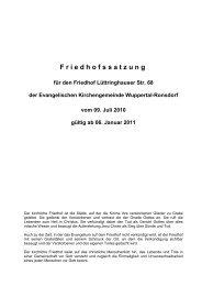 Friedhofssatzung - Evangelische Kirchengemeinde Wuppertal ...