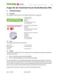 Fragen für das Technische Forum Kernkraftwerke (TFK) vom 24.05 ...