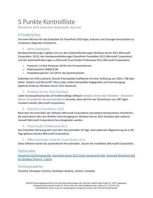 5 Punkte Kontrollliste - SharePoint 2013 Systemintegration