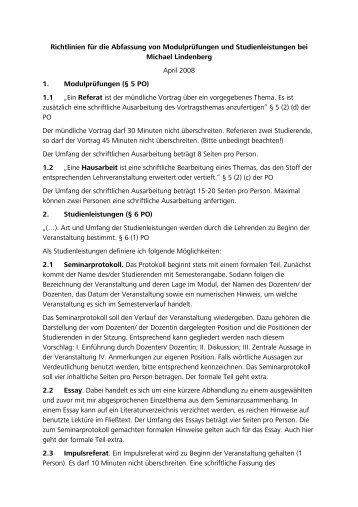 Richtlinien für die Abfassung von Modulprüfungen und ...