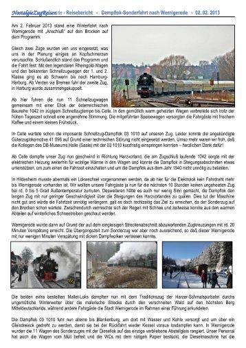 Dampflok-Sonderfahrt nach Wernigerode - Nostalgiezugreisen.de