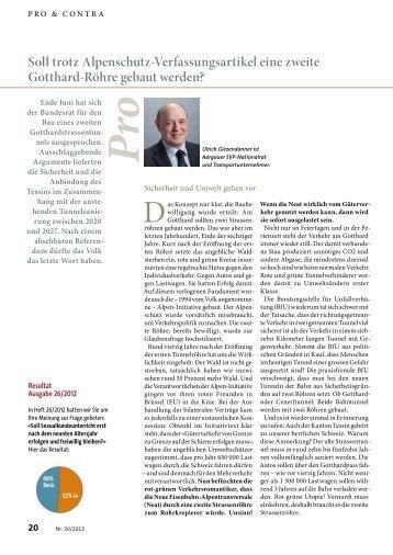 Trotz Alpenschutz-Verfassungsartikel eine zweite ... - Giezendanner