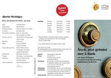 "Ätsch, jetzt gründet mer ä Bank - Theatergruppe ""Heldsberg"" St ..."