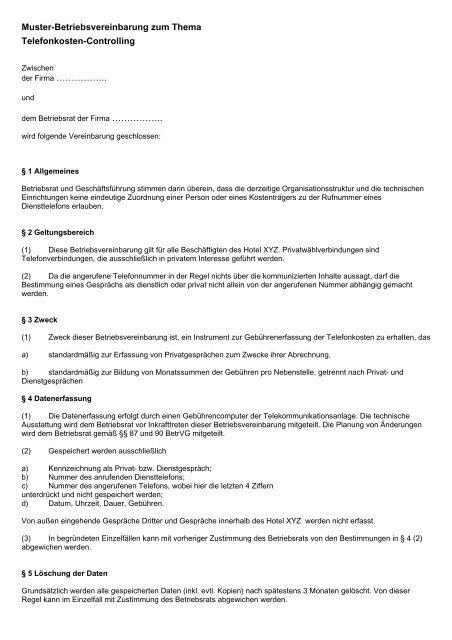 Muster Betriebsvereinbarung Als Pdf Br Wiki 15
