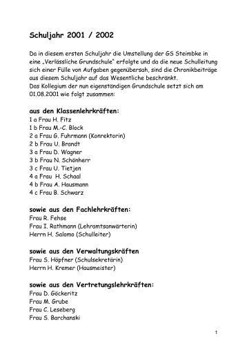 Schuljahr 2001 / 2002 - Grundschule Steimbke