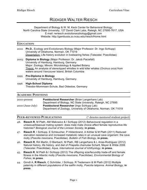 CV Rriesch website - Langerhans Lab - North Carolina State