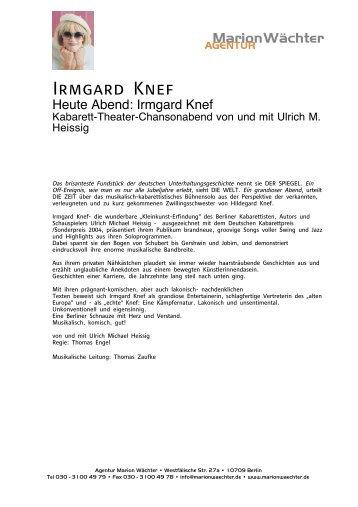 Irmgard Knef - Agentur Marion Wächter