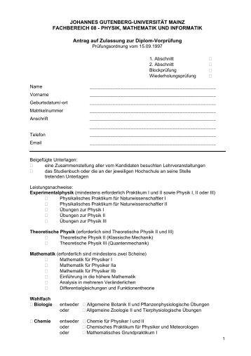 Anmeldung der Diplom-Vorprüfung - im Fachbereich Physik ...