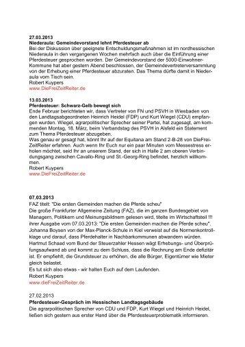 Nachrichtenticker Pferdesteuer - Pferdesportverband Hessen
