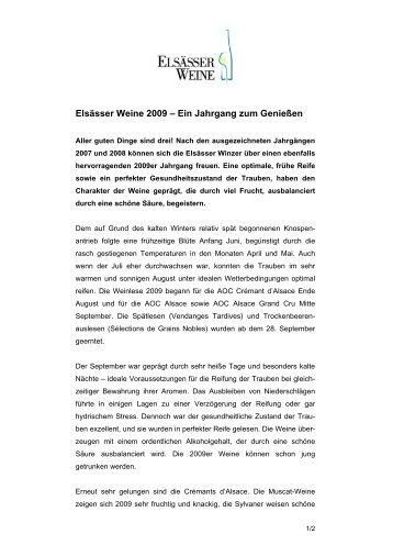 Elsässer Weine 2009 - Les Vins d'Alsace