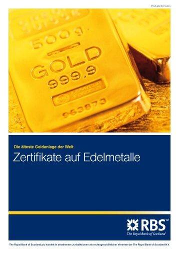 Zertifikate auf Edelmetalle - Infoboard