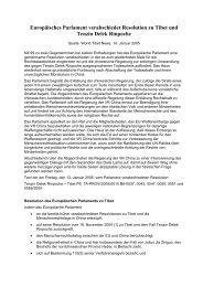 Europäisches Parlament verabschiedet Resolution zu Tibet und ...