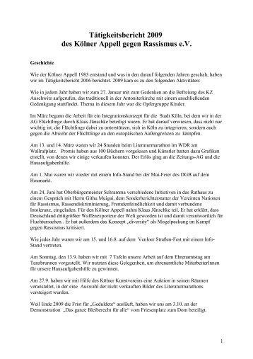 Jahresbericht 2009 - Kölner Appell gegen Rassismus