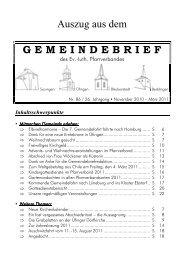 Auszug aus dem G E M E I N D E B R I E F - Pfarrverband Sauingen