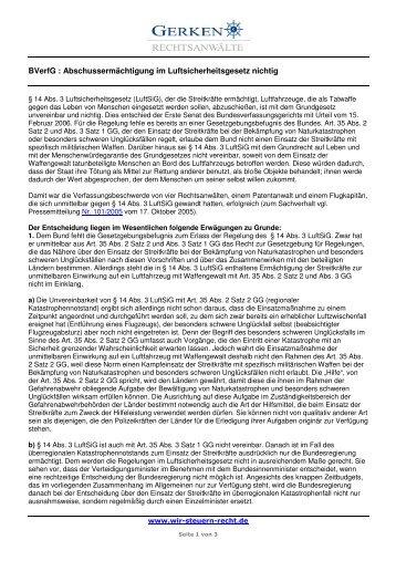 BVerfG : Abschussermächtigung im Luftsicherheitsgesetz nichtig