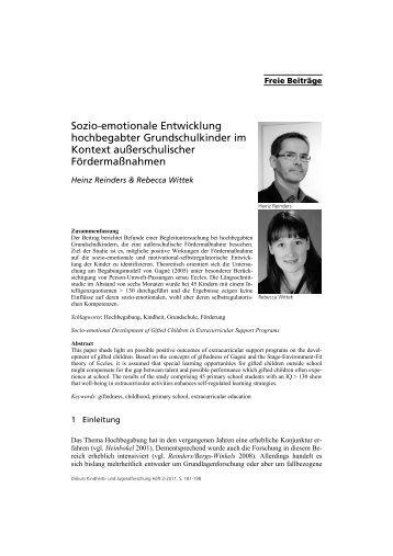 Sozio-emotionale Entwicklung hochbegabter Grundschulkinder im ...