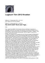 Logbuch Törn 2012 Kroatien - Segelfreunde Hole Hole