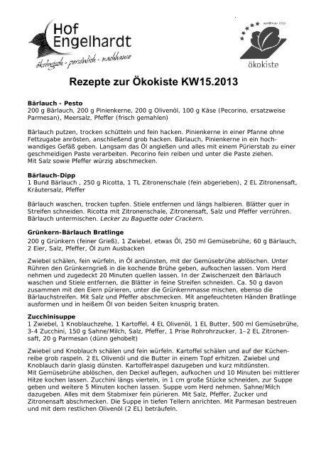 Rezepte zur Ökokiste KW15.2013 - Hof Engelhardt