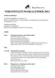 VERANSTALTUNGSKALENDER 2013 - Burg Kriebstein