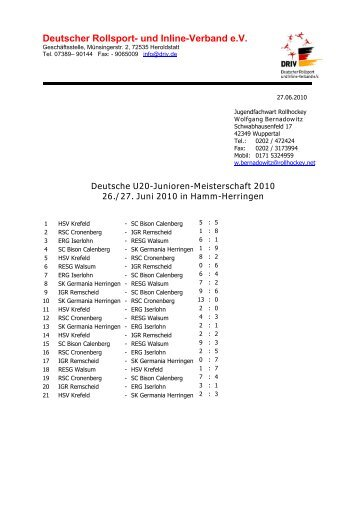 Deutsche U20-Junioren-Meisterschaft - Rollhockey