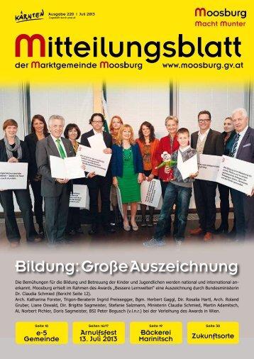 Gemeindezeitung Juli 2013 ist online! - Marktgemeinde Moosburg