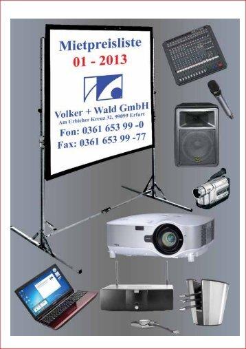 Mietpreisliste 1 - 2012 Volker + Wald GmbH, Preise in Euro ...