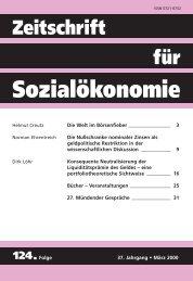 Die Welt im Börsenfieber - Zeitschrift für Sozialökonomie