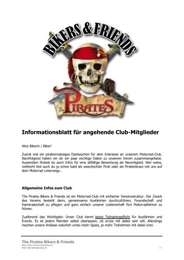 Informationsblatt - The Pirates Bikers & Friends